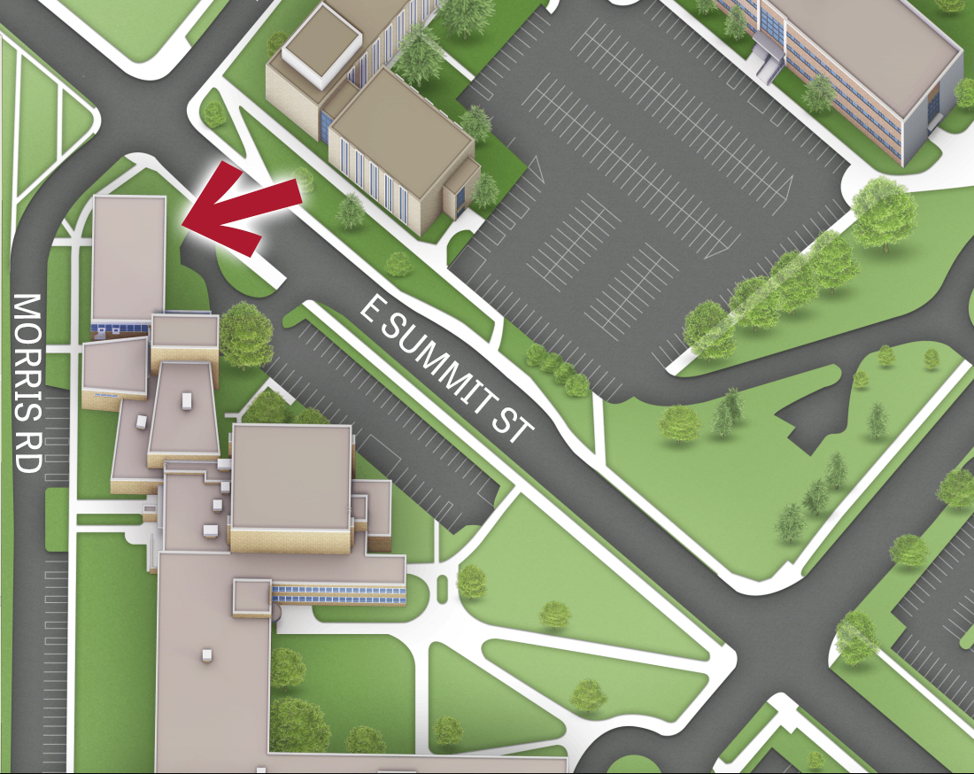 Campus map pointing to the entrance of SparK on the northeast corner of Schwartz Center