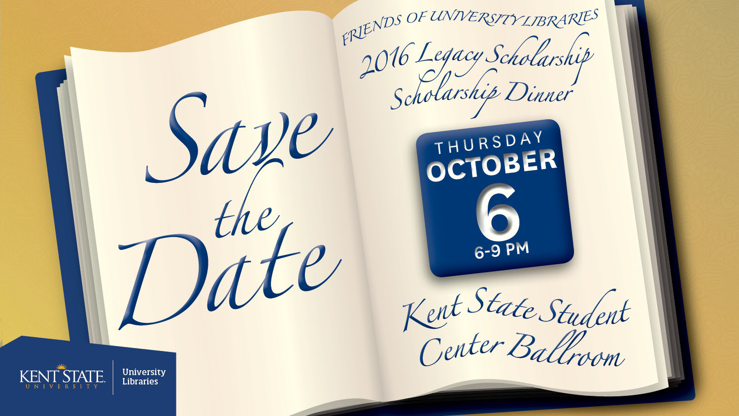 Show more about Join the Friends of the University Libraries for the 3rd Annual Legacy Scholarship Dinner on Thursday, Oct. 6 from 6-9 p.m.