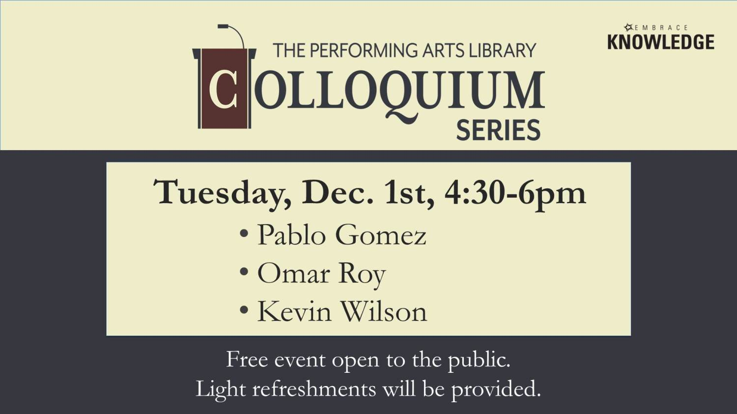 Show more about Presentations will focus on music theory topics at the next Colloquium!