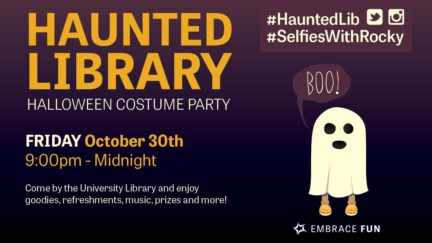Show more about The haunted Library is hosting the biggest Halloween party on campus!
