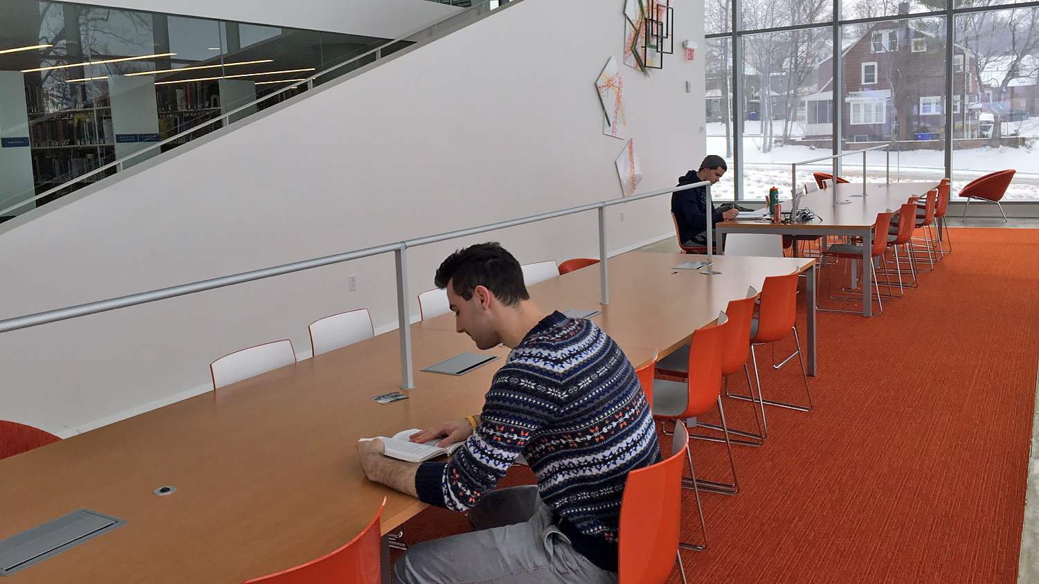 Study space available in well lit area
