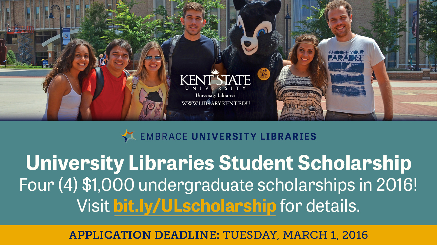 Show more about Four (4) $1,000 undergraduate, University Libraries Student Scholarships in 2016!