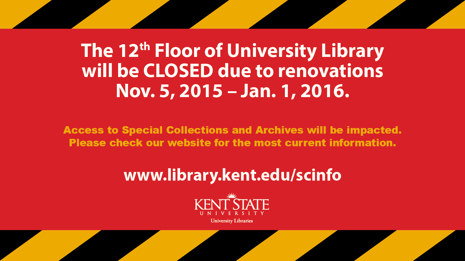 Show more about The 12th Floor of University Library will be CLOSED due to renovations Nov. 5, 2015 - Jan. 1, 2016.