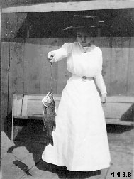 Photograph of Mable Kelso Trory holding a fish