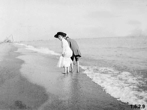 Photograph of Mabel Trory on the beach in Cleveland