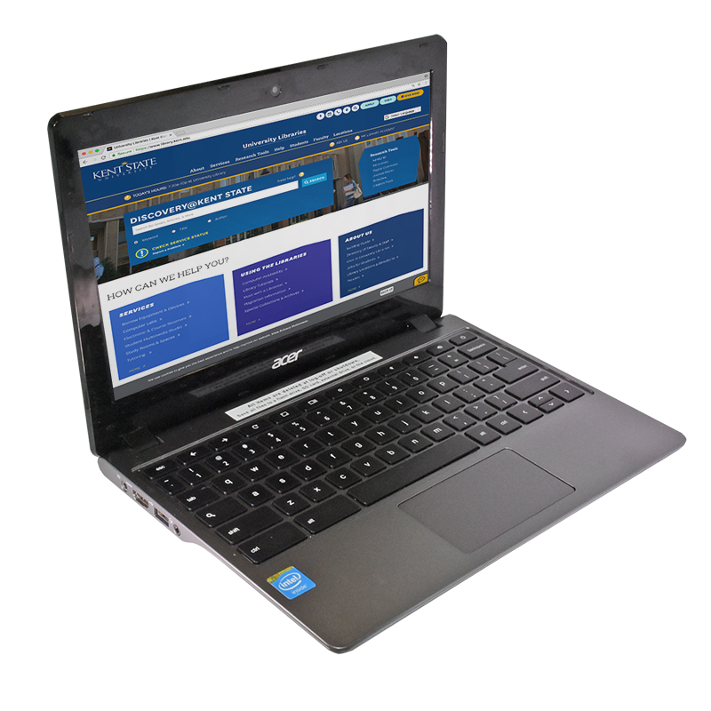 A Chromebook is open to Kent State students