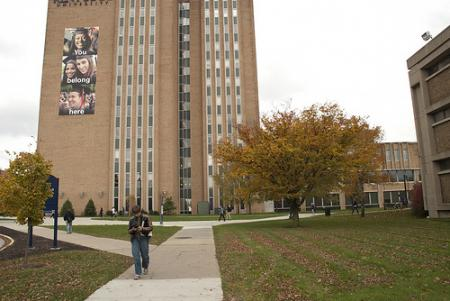 A student walks towards the library