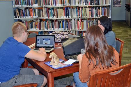 Group of students studying at the Performing Arts Library