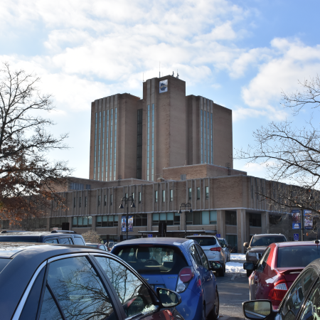 View of the University Library from the R6 lot, January 2020.