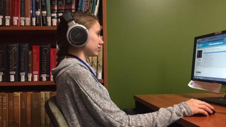 Student studying at the Performing Arts Library